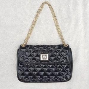 Anne Klein Black Patent Quilted Leather Handbag